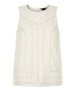 Cream Crochet Sleeveless Top  | New Look