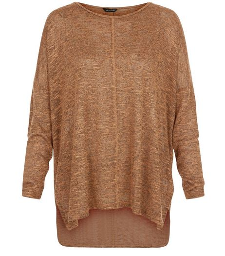 Tan Fine Knit Seam Front Tunic Top  | New Look