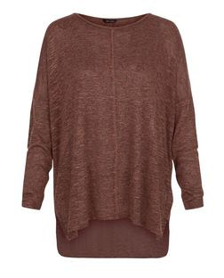 Dark Brown Fine Knit Seam Front Tunic Top  | New Look