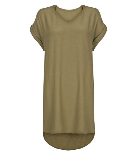 Apricot Khaki V Neck Tunic Dress | New Look