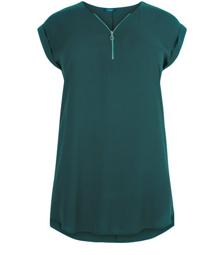 Curves Green Longline Tunic Top | New Look