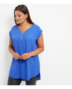 Curves Blue Zip Front Longline Tunic Top | New Look