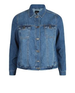 Plus Size Blue Double Pocket Denim Jacket  | New Look