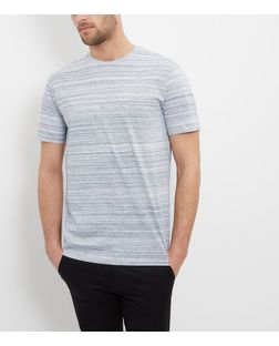 Grey Washed Stripe T-Shirt  | New Look