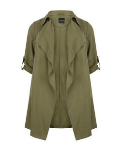 Plus Size Khaki Waterfall Trench Coat  | New Look