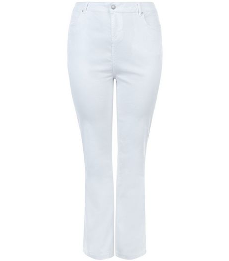Curves White Bootcut Jeans | New Look