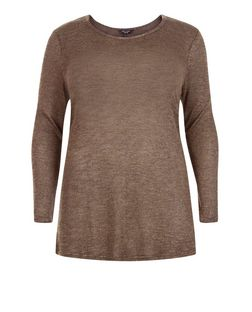 Plus Size Khaki Fine Knit Swing Jumper | New Look