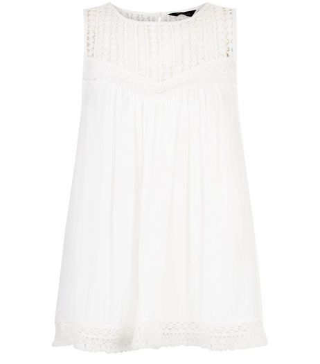 Cream Crochet Panle Sleeveless Top  | New Look