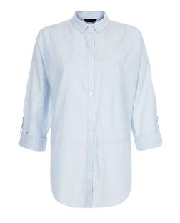 Blue Textured Single Pocket Drop Arm Roll Sleeve Shirt  | New Look
