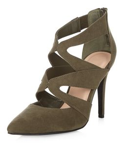 Khaki Suedette Cut Out Pointed Heels  | New Look
