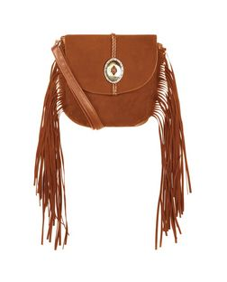 Tan Western Buckle Fringe Saddle Bag  | New Look