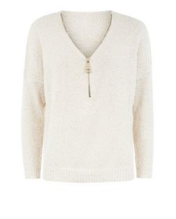 Blue Vanilla Stone Zip Neck Jumper | New Look