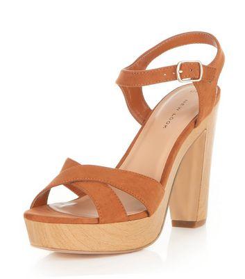 Sandalo  donna Tan Suedette Cross Strap Platform Heeled Sandals