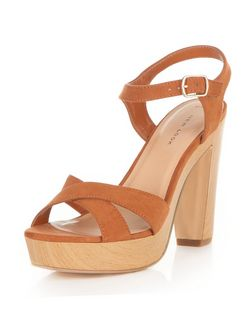 Tan Suedette Cross Strap Platform Heeled Sandals  | New Look