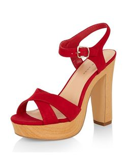 Red Suedette Cross Strap Platform Heeled Sandals | New Look