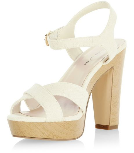 Stone Cross Strap Platform Block Heel Sandals  | New Look