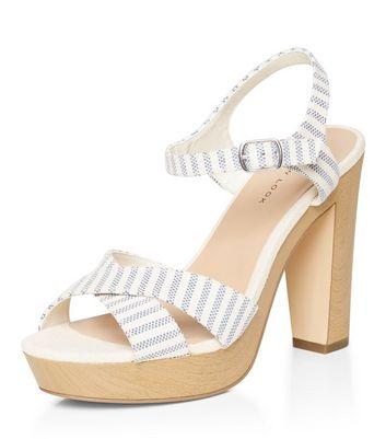 Sandalo  donna Blue Stripe Cross Strap Platform Block Heel Sandals
