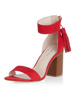 Red Suedette Tassel Drop Block Heel Sandals | New Look