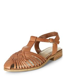 Tan Leather Woven T-Bar Sandals  | New Look