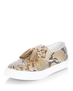 Cream Snakeskin Print Tassel Slip On Plimsolls  | New Look