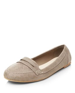 Grey Snakeskin Texture Loafers  | New Look
