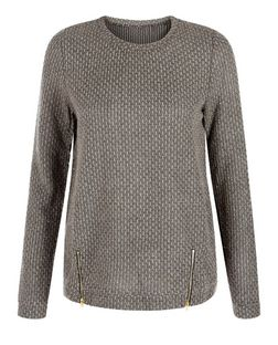 Madam Rage Grey Zip Hem Jumper | New Look
