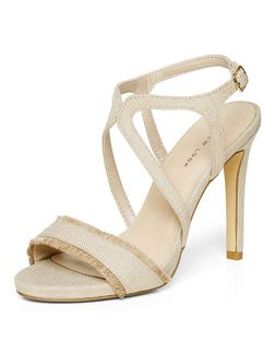 Cream Canvas Fringed Cross Strap Heels  | New Look