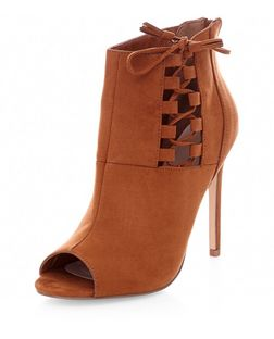 Tan Suedette Lace Up Side Peeptoe Heeled Boots  | New Look