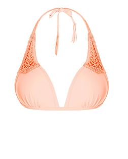 Coral Crochet Panel Bikini Top | New Look