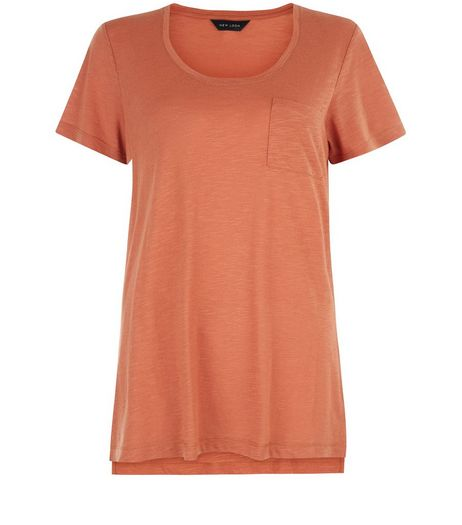 Light Brown Single Pocket T-Shirt  | New Look
