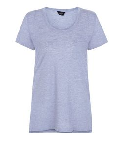 Blue Single Pocket T-Shirt  | New Look