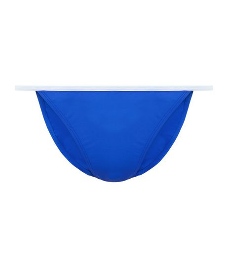 Blue Contrast Trim Bikini Bottoms | New Look