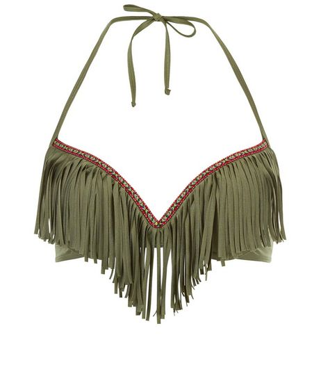 Khaki Chevron Trim Fringed Bikini Top | New Look
