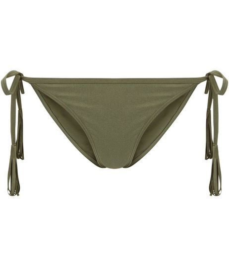 Khaki Tassel Tie Side Bikini Bottoms | New Look