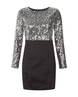 Madam Rage Silver Sequin Skirt Dress | New Look