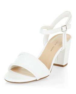 Teens White Plaited Block Sandals | New Look