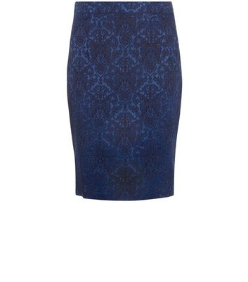 Gonna  donna Madam Rage Navy Floral Print Jacquard Co-Ord Skirt
