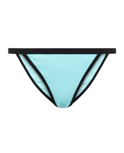 Turquoise Contast Trim Bikini Bottoms | New Look