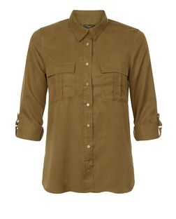 Petite Khaki Double Pocket Shirt | New Look