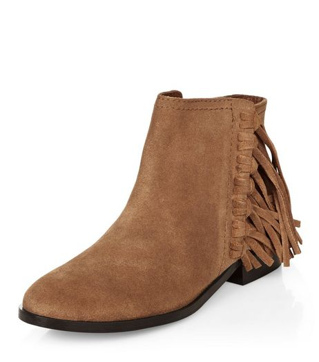 Tan Suede Knotted Tassel Side Ankle Boots  | New Look