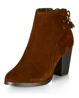 Tan Suede Lace Up Back Block Heel Ankle Boots  | New Look