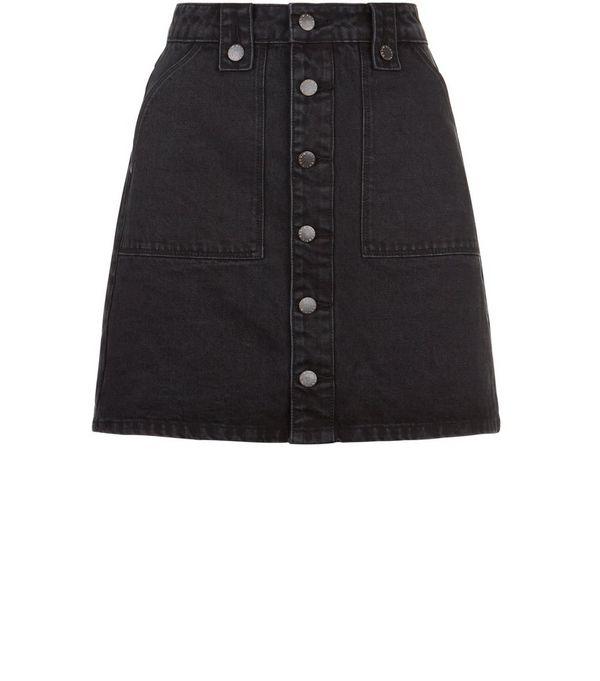 black denim button front skirt redskirtz