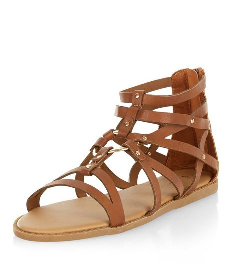 Tan Cross Strap Metal Ring Sandals  | New Look