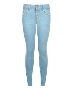 Light Blue Button Front Skinny Jeans | New Look