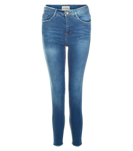 Blue Fray Trim Skinny Jeans  | New Look