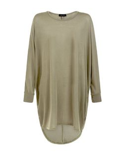 Khaki Fine Knit Oversized Batwing Top  | New Look