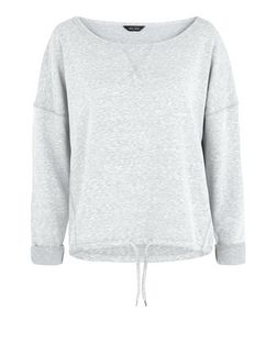 Grey Drawstring Sports Sweater  | New Look