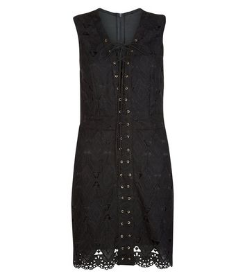 Product photo of Anita and green black suedette lace up front scallop hem dress