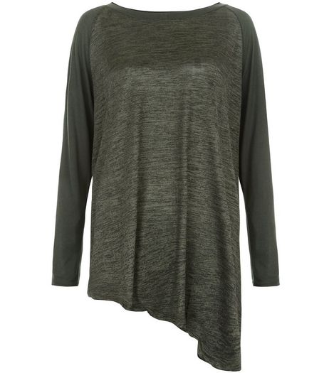 Anita and Green Khaki Space Dye Asymmetric Hem Top | New Look