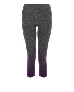 Grey Ombre Space Dye Cropped Sports Leggings  | New Look